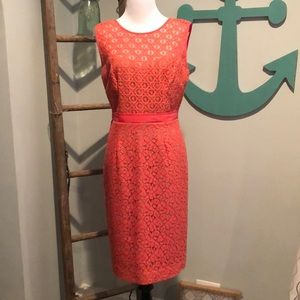 Beautiful Coral lace and beige BCBG Maxazria dress